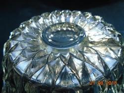Vastagfalu dombor rozettás üveg tál 11,5 cm