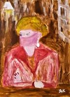 "Kata Szabo: ""pseudo-face"" painting, wood fiber, beautiful frame, size 40 x 30 cm, signed"