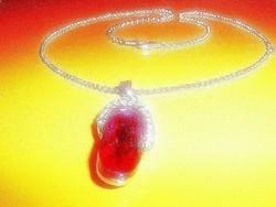 Swarovski Rubint fényű kristály Tibeti ezüst. Nyaklánc
