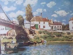 Sisley gyönyörű impresszionista festményének reprodukciója