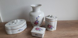 Hollóházi porcelán hajnalka mintás váza bonbonier