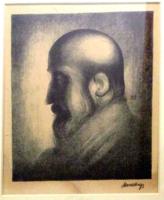 Mund Hugó - Bölcs (rabbi) portréja, 1924, litográfia (judaika, zsidó portré)