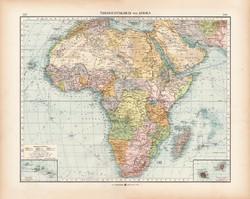 Afrika politikai térkép 1902, német nyelvű, atlasz, 44 x 55 cm, Moritz Perles, Szahara, Nílus, Kongó