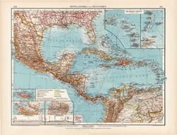 Közép - Amerika politikai térkép 1912, német nyelvű, atlasz, 44 x 57, Moritz Perles, Andrees, Kuba