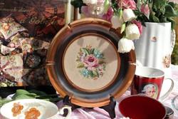 Réz tál ,tányér ,gobelin betéttel