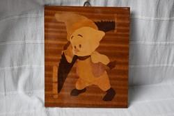 Malacka , favágó malac intarzia kép , asztalos , faműves munka 22 x 26,5