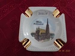 Minőségi német porcelán hamutál, Wien Stephansdom felirattal és látképpel.