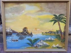 Pele andrás, olaj, vászon, festménye 1980-ból, 60 x 80 cm