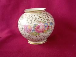 50 Kerafina aranyozott virág mintás porcelán váza 9 cm