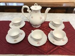 Zsolnay porcelán kávés készlet csésze alj kiöntő P274