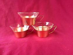 50 3 db retro kávés pohár fém tartóban 10 cm széles 6,5 cm magas