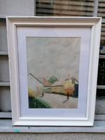 Falusi utcakép akvarell festmény