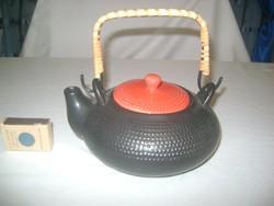 Kerámia tea vagy kávé kiöntő, kanna fonott füllel