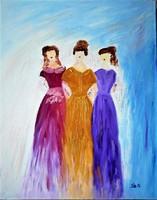 "Kata Szabo: ""three graces"" oil painting, canvas, 50 x 40 cm, signed"
