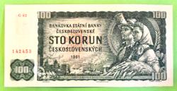 1961-es csehszlovák 100 korona bankjegy *makulátlan*