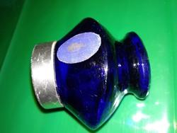 Vintage kobalt ? kék üveg kenőcsös pipere tégely art deco stílusban antique blue glass