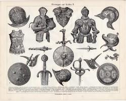 Páncél és fegyver I., II., III., egyszín nyomat 1906, német, eredeti, kard, pajzs, sisak, lovagi