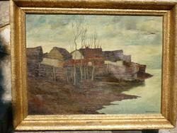 Eladó Várdeák Ferenc: Foyóparti házak című olajvászon festménye