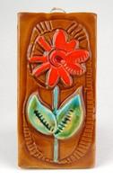 1B340 Kisméretű mázas virágos falikerámia kerámiatábla 14.3 cm