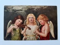 Régi angyalos képeslap zenélő angyalok