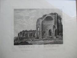 Antik római temlom (Vénusz temploma) romja 19. századi metszeten