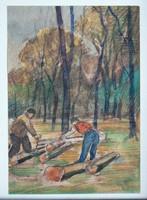 """KASTALY ISTVÁN (1892-1991 ) """"ERDŐ SZÉLE """"  (24X17) AKVARELL FESTMÉNY EREDETI"""