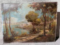 Jelzett, régi olaj-karton tájkép festmény csónakkal