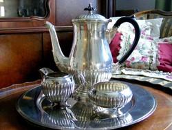 Valódi angol elegancia, ezüstözött különlegesség, tea, kávé szerviz szett, klasszikus fazon
