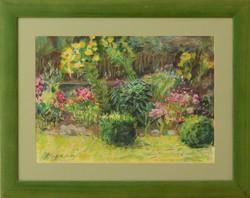 Mariana Pascalau Virágos kert című pasztell képe