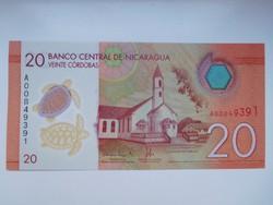 Nicaragua 20 cordobas 2015 UNC Polymer