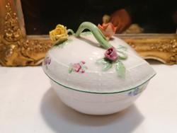Herendi porcelán nagyméretű rózsás szív bonbonier