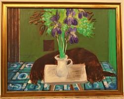 Breznay József (1916-2012) Csendélet kutyával. Képcsarnokos festménye 86x66cm EREDETI GARANCIÁVAL !