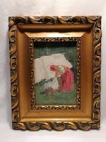 Kiss .... jelzéssel : Teregető asszony olaj-fa életkép festmény