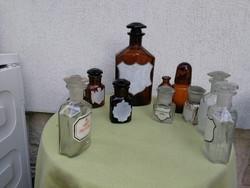 Antik, régi patika, gyógyszertári üvegek! 10db+1 ajándék!