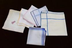 Régi dísz textil zsebkendő férfi 6db. 26,5-től 40cm-ig