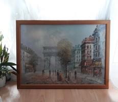 """Paul Renard (1871-1920) """"Párizsi utcai jelenet"""" Reprodukció. 55x75 cm, szép fakerettel"""