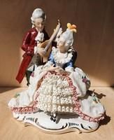 Gdr Lippelsdorf német porcelán barokk pár csipkeruhás nő hölgy lantos férfi lovag