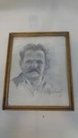 Szignós grafit portré