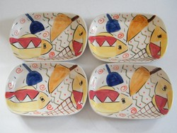 Kézzel festett (Gigli design) halas porcelán tálak 4 db