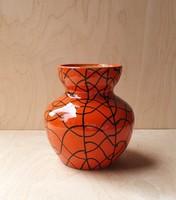 Retro absztrakt mintás ritka fényes mázú Tófej kerámia váza