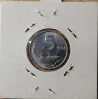 Olaszország 5 Lira 1994 UNC