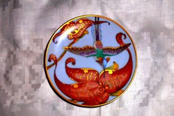 Hutschenreuther Ole Winther szignált kolibris fali  tálka