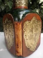 Üveg - RENDKÍVÜL SZÉP - NAGY - bőr - rézlemez borítású - Osztrák üveg - 28 x 10 x 10 cm - hibátlan