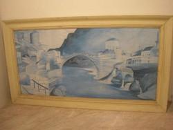 M1-12 Csontváry UTÁN  akvarell festmény 90 x 50 cm eladó üveglapos ritkaság Római híd Mosztárban