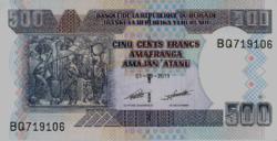 Burundi 500 Francs / Amafranga 2011 UNC