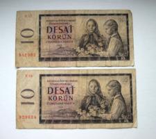 CSEHSZLOVÁKIA - 2 db -10 Korun - 1960