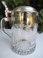 Üveg - GRAVÍROZOTT - HORGÁSZJELENETES - kupa - ezüstözött  - 4 dl  Német  - hibátlan