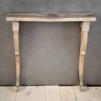 Vintage konzolasztalka natúr dió lappal, antik, ezüst lábvégződéssel