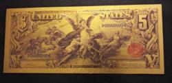 24 kt arany öt  dolláros bankjegy