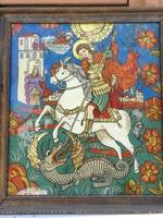 Sárkány ölő Szent György küzd a Sárkánnyal! Üveg ikon keretbe!Szép szines festmény!